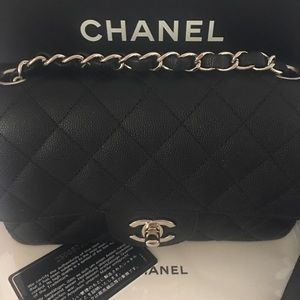 AUTHENTIC CHANEL RECTANGULAR MINI CAVIAR LEATHER
